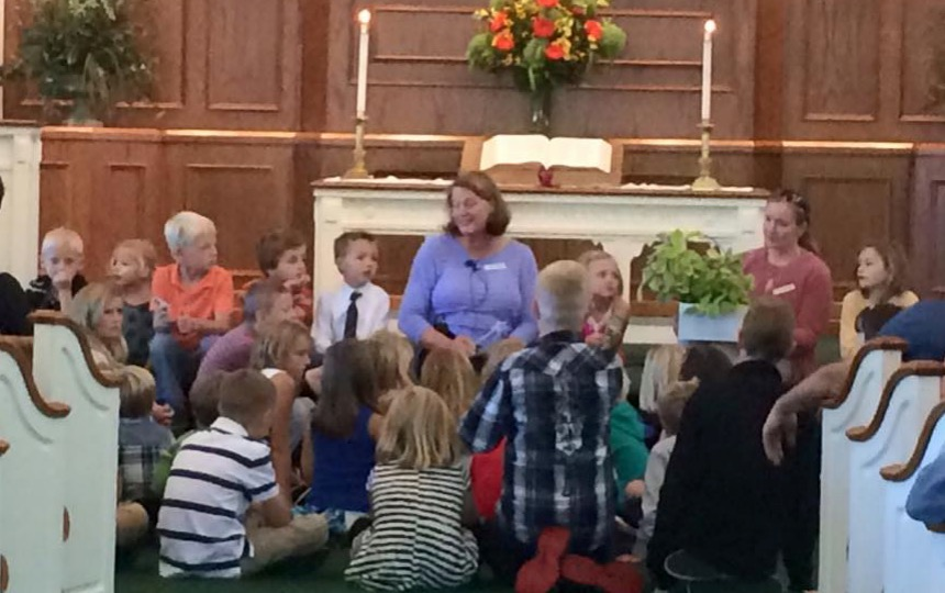 Children's sermon with Tassie Brautigam and Kelly Gagne - fall 2015